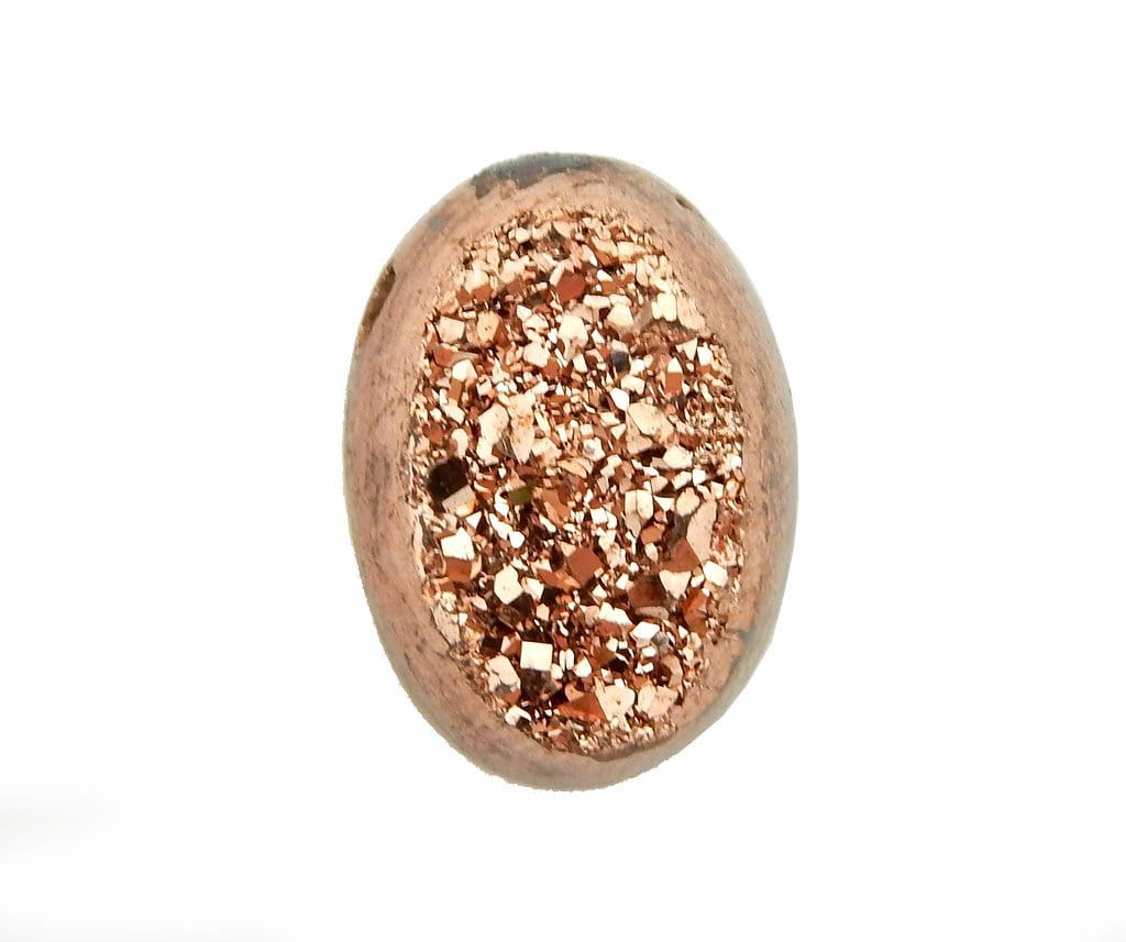 Druzy Cabochon - Brown Colored Titanium Oval Shaped Druzy Cabochon 10mm X 14mm Top Side Drilled Bead