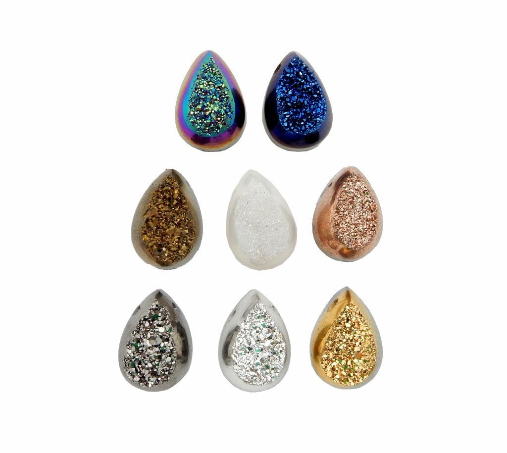 Druzy Cabochon - Brown Titanium Teardrop Shaped Druzy Cabochon 10mm X 14mm Top Side Drilled Bead