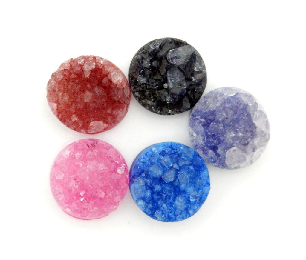 Druzy Cabochon - Druzy Cabochon - Pink Round Shaped Druzy Cabochon 16mm - Perfect For Jewelry Making (RK103B9-03)