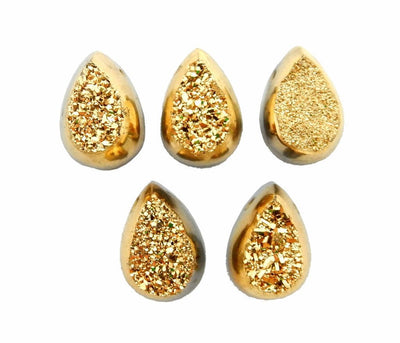 Druzy Cabochon - Gold Colored Titanium Teardrop Shaped Druzy Cabochon 10mm X 14mm Top Side Drilled Bead