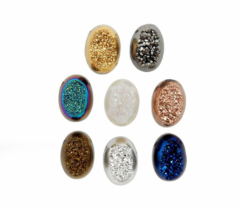 Druzy Cabochon - Mystic Blue Colored Titanium Oval Shaped Druzy Cabochon 10mm X 14mm Top Side Drilled Bead