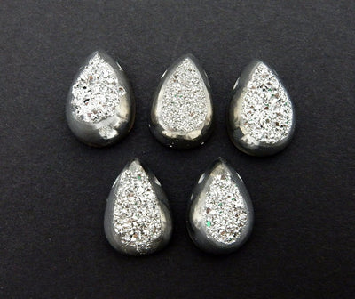 Druzy Cabochon - Platinum Colored Titanium Teardrop Shaped Druzy Cabochon 10mm X 14mm Top Side Drilled Bead