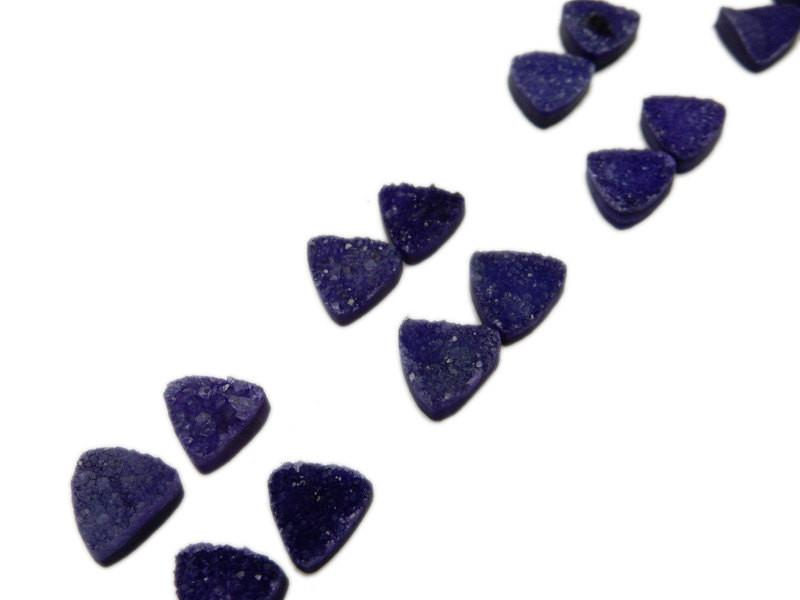 Druzy Cabochon - Purple Triangle Druzy Pair - Beautiful 10mm Triangle Shaped Druzy - Jewlery Supplies -  Druzy Stones