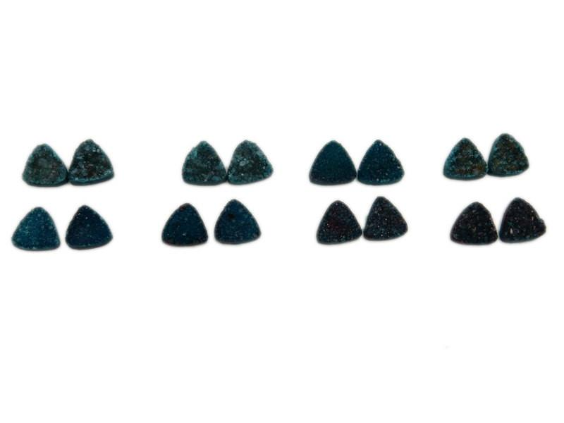 Druzy Cabochon - Teal Green Triangle Druzy Pair - Beautiful 10mm Triangle Shaped Druzy - Jewlery Supplies -  Druzy Stones