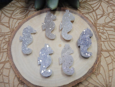 Druzy Cabochon - Titanium Treated Undrilled Seahorse Pendant - Wire Wrapped Jewelry -(RK58B14-06/RK58B14-07)