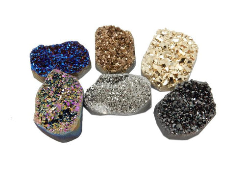 Druzy Cluster - Titanium Druzy Cluster Freeform - Pack Of 5 Or 6 Stones - Decor - Jewelry Making - Terrariums - (RK29)