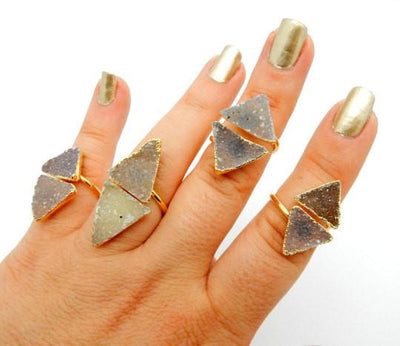 Druzy - Double Triangle Druzy With Electroplated 24k Gold Edges On An Adjustable 24k Gold Electroplated Ring
