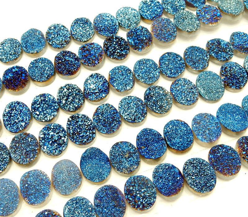 Druzy - Druzy Cabochon - Blue Oval Shaped Druzy Cabochon 10mm X 8mm - Perfect For Jewelry Making