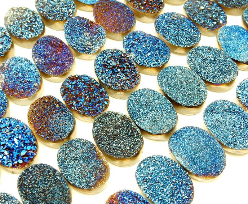 Druzy - Druzy Cabochon - Blue Oval Shaped Druzy Cabochon 14mm X 10mm - Perfect For Jewelry Making
