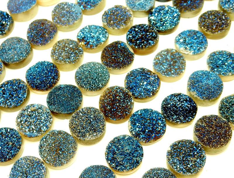 Druzy - Druzy Cabochon - Blue Round Shaped Druzy Cabochon 10mm - Perfect For Jewelry Making