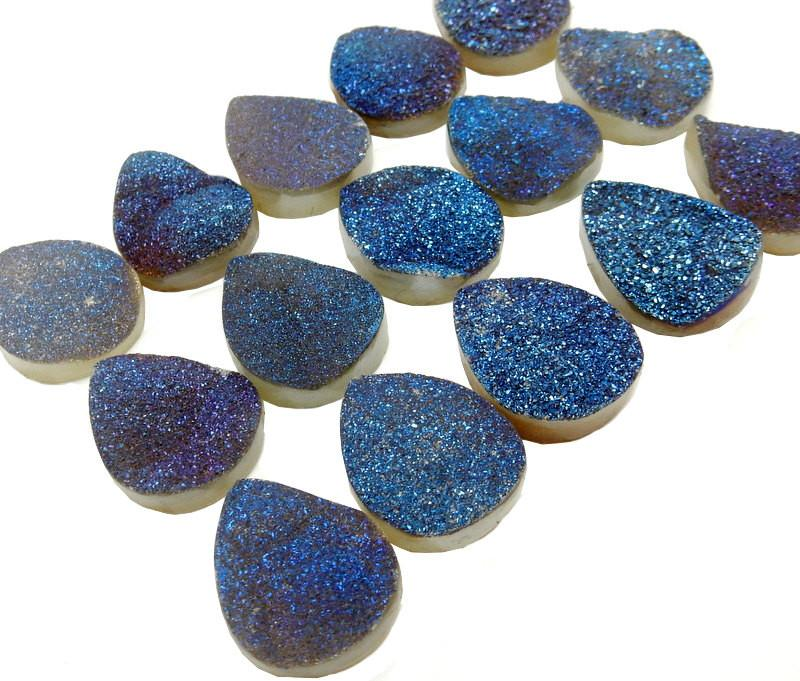 Druzy - Druzy Cabochon - Blue Teardrop Shaped Druzy Cabochon 20mm X 16mm - Perfect For Jewelry Making