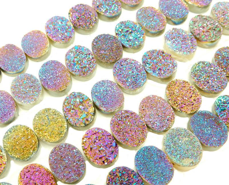 Druzy - Druzy Cabochon - Purple And Blue Oval Shaped Druzy Cabochon 10mm X 8mm - Perfect For Jewelry Making