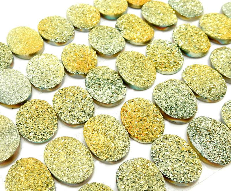 Druzy - Druzy Cabochon - Yellow Oval Shaped Druzy Cabochon 16mm X 12mm - Perfect For Jewelry Making