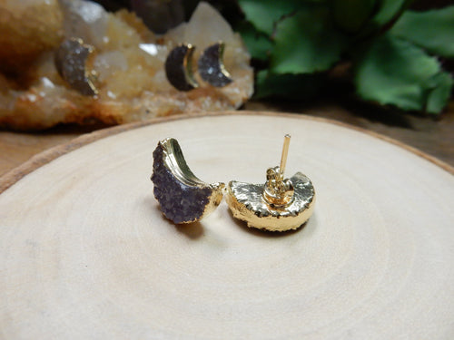 Earrings - Crescent Moon Druzy Stud Earrings With Electroplated 24k Gold Edge (RK30B3-06)