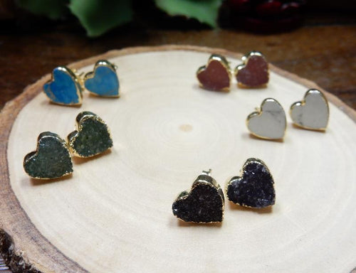 Earrings - Gemstone Heart Shaped Stud Earrings With Electroplated 24k Gold Edge (S125B8)