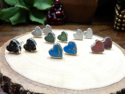 Earrings - Gemstone Heart Shaped Stud Earrings With Electroplated Silver Edge (S125B10)