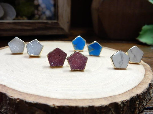Earrings - Gemstone Pentagon Shaped Stud Earrings With Electroplated 24k Gold Edge (S125B2)