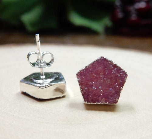 Earrings - Gemstone Pentagon Shaped Stud Earrings With Electroplated Silver Edge (S125B3) (S125B2)
