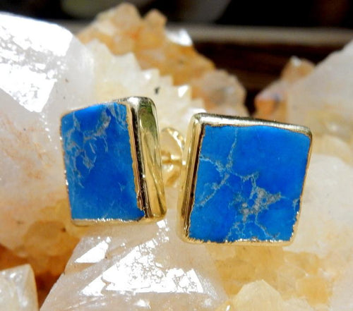 Earrings - Gemstone Square Shaped Stud Earrings With Electroplated Silver Or 24k Gold Edge (S125B2)