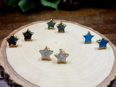 Earrings - Gemstone Star Shaped Stud Earrings With Electroplated 24k Gold Edge (S125B5)