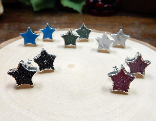 Earrings - Gemstone Star Shaped Stud Earrings With Electroplated Silver Edge (S125B1)