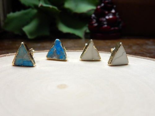 Earrings - Gemstone Triangle Shaped Stud Earrings With Electroplated 24k Gold Edge (S125B8)