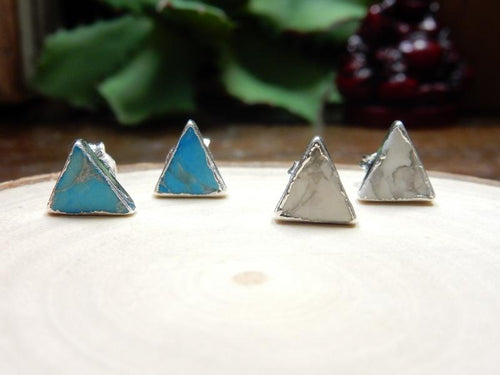 Earrings - Gemstone Triangle Shaped Stud Earrings With Electroplated Silver Edge (S125B10) (S125B5)