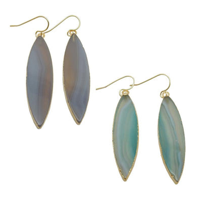 Earrings - Marquise Agate Earrings With Electroplated 24k Gold Edge (RK193B3)