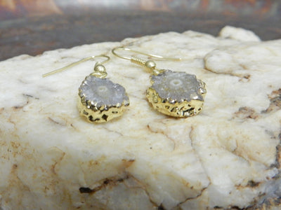 Earrings - Petite Stalactite Earrings With 24k Gold Electroplated Edges (RK114B5-13)