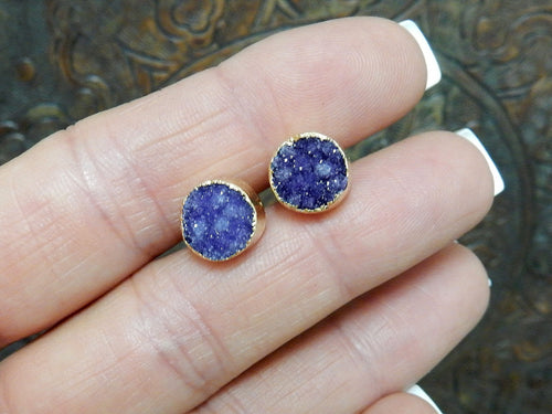 Earrings - Purple Toned Beautiful Round Druzy Stud Earrings In 24k Gold Electroplated (RK114B5-11)