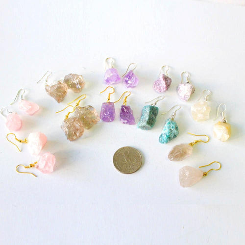 Earrings - Rough Stone Earrings - Apatite , Lepidolite , Amethyst , Rose , Smoky , Clear Quartz Gold Or Silver Bail - (RK78B4-02)