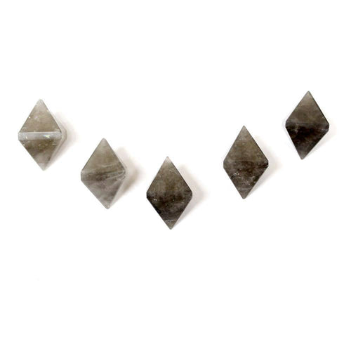FIVE (5) Smokey Quartz Diamond Shaped Stone Point - Diamond Shaped Smokey Quartz Perfect For Wire Wrapping - RK50B18b-02 Bulk 5