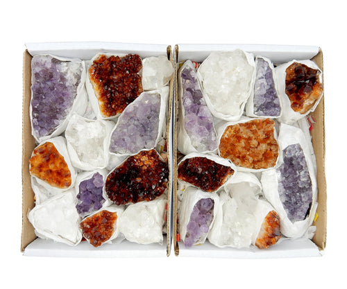 Flat Boxes - Amethyst Citrine And Crystal Cluster Flat Box - (RK126TS)