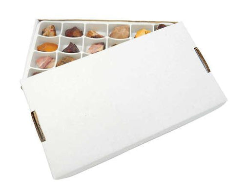 Flat Boxes - Assorted Stone Box Natural Rough Stones HS1B9