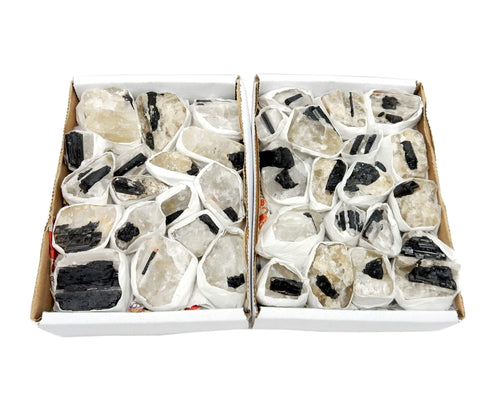 Flat Boxes - Black Tourmaline On Matrix Flat Box - Box Of 15-20 Pieces  (S53TS)