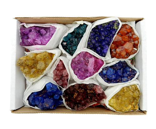 Flat Boxes - Dyed Amethyst Cluster Flat Box 9-13 Piece Box (RK190TS)