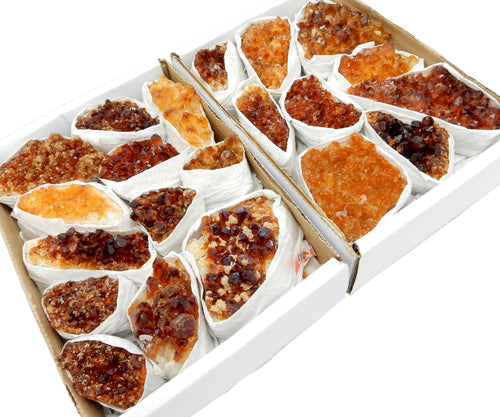 Flat Boxes - Extra Grade Citrine Cluster Flat Box - Box Of 9-12 Pieces (S36TS)