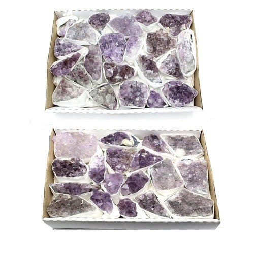 Flat Boxes - FULL BOX Light Purple Amethyst Cluster - Natural Raw Light Purple Amethyst Cluster - Box Of 8-14 Pieces Approx 1-2lbs  RK43A