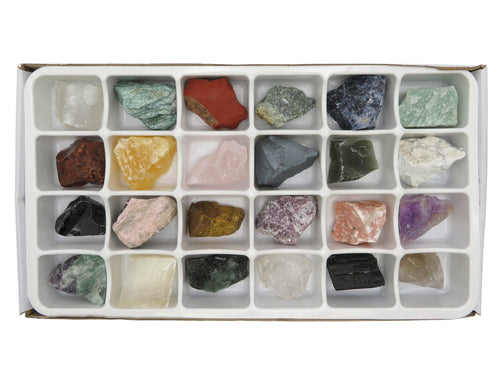 Flat Boxes - Mixed Assorted Stones By The Box - Colorful Assortment Of  Natural Stone- 24 Pcs Box (RK101TS)