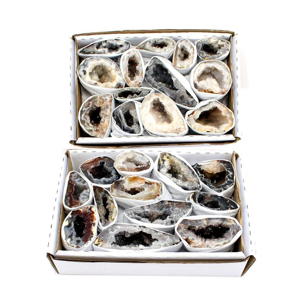 Flat Boxes - Natural Geode From Brazil 1.5-2 Lbs Full Box Approx. 10-15 Pieces - Style A - RK48b