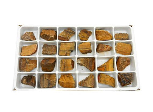 Flat Boxes - Tigers Eye Chunk By Box - Box Of 24 Pieces HS1B3