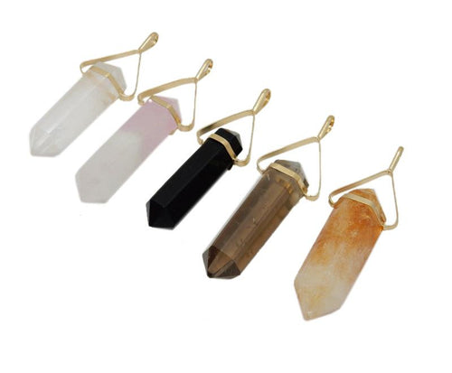 Gemstone Point - Gemstone Point Pendant With Triangle Gold Plated Cap (S88B11)
