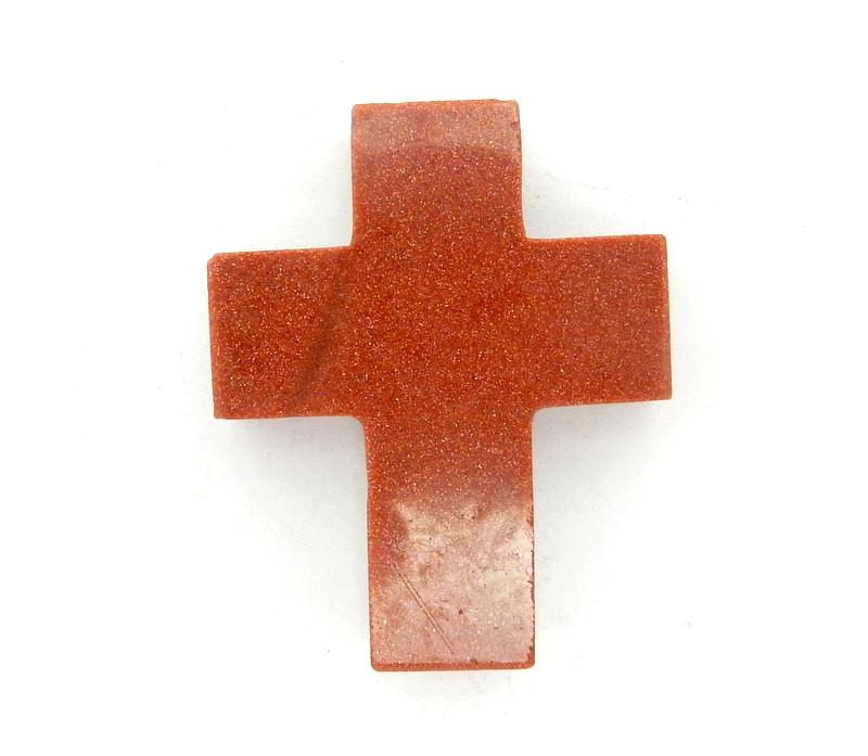 Goldstone Cross Pendant Charm - Top Side To Side Drilled Bead (RK41B1)
