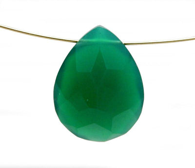 Green Onyx Drilled Teardrop Briolette Faceted Bead - Gemstone Briolette - Wholesale Beads (RK50B2b-06)