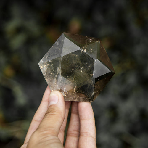 Smokey Quartz Hexagon Pocket Stone Faceted Gem