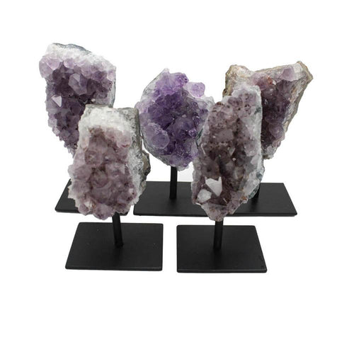Home Decor - Amethyst Cluster On Metal Stand Amethyst Druzy - Metal Stand  - Crystal Healing - Home Decor - Crystal Collection - Spiritual Gifts