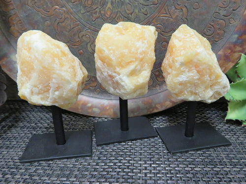 Home Decor - Orange Calcite On Metal Stand - Calcite Chunk - Crystal Healing - Home Decor - Crystal Collection - Spiritual Gifts (HW2-10)