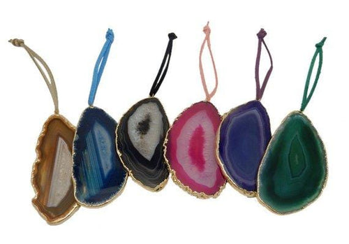 Freeform Gold Trim Agate Christmas Ornaments - Home Decorations for Holidays - Christmas Tree Ornaments (ORN-102)