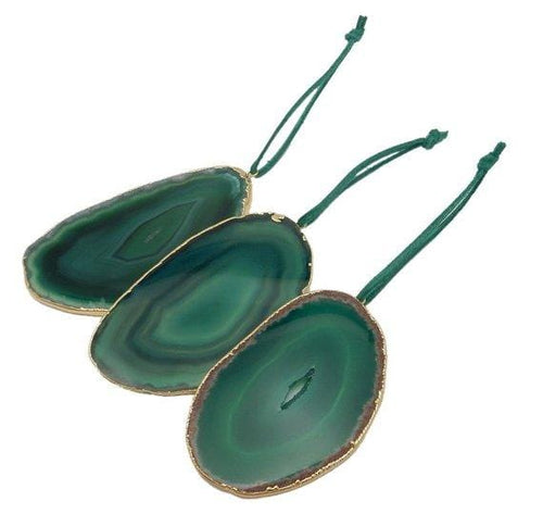 Freeform Gold Trim Agate Christmas Ornaments (ORN-102)