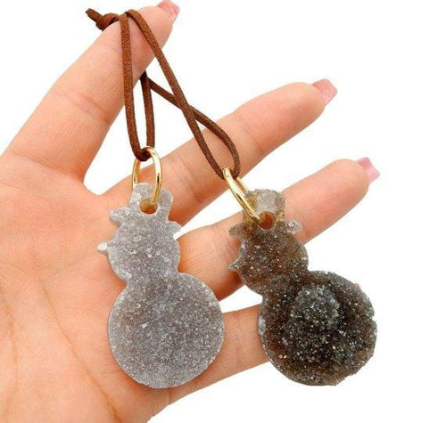 Druzy Snowman Gemstone Christmas Ornaments - Home Decorations for Holidays - Christmas Tree Ornaments